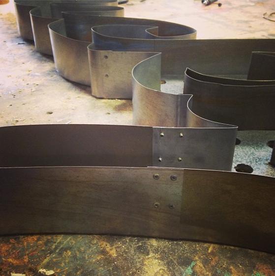 In Progress - Hand bent steel cursive