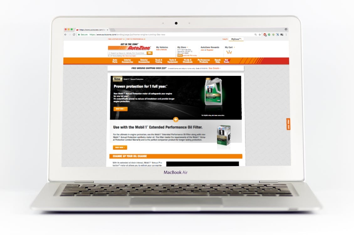 AutoZone Landing Page for Mobil 1